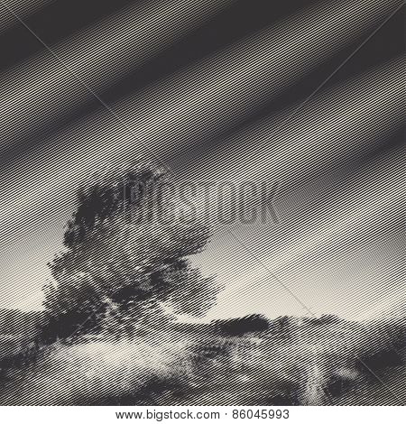 Vector engraved style two colors illustration, peaceful rural landscape with blurry effect