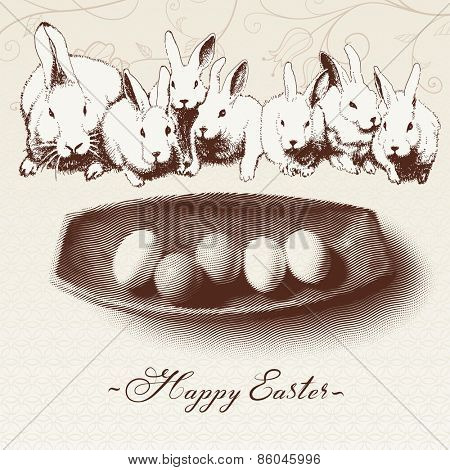 Greeting card vintage design of Happy Easter with white rabbits and a bowl of eggs