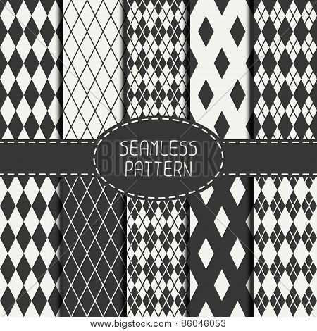 Set of geometric monochrome seamless pattern with rhombus, square. Collection of paper for scrapbook
