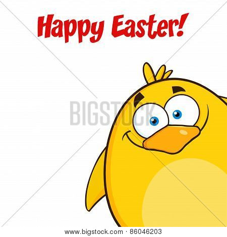 Happy Easter With Yellow Chick Cartoon Character Looking From A Corner