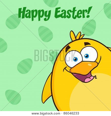 Happy Easter With Smiling Yellow Chick Cartoon Character Looking From A Corner