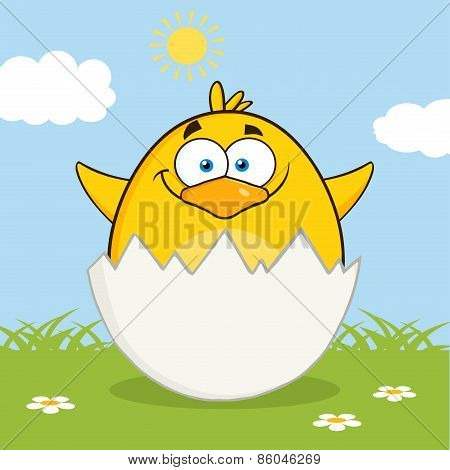 Surprise Yellow Chick Cartoon Character Out Of An Egg Shell