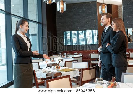 Business partners meet at lunch