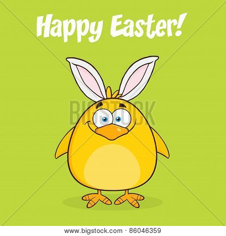 Happy Easter With Smiling Yellow Chick Cartoon Character With Bunny Ears