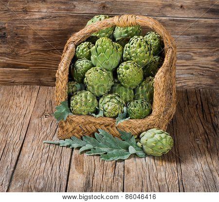 Artichokes In A Aged Basket