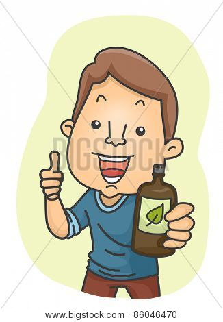 Illustration of a Man Giving a Thumbs Up While Holding a Bottle of Organic Drink