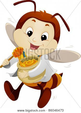Mascot Illustration of a Happy Bee Dressed as a Doctor Carrying a Pot of Honey