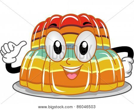 Mascot Illustration of a Stack of Gelatin Pointing to Itself
