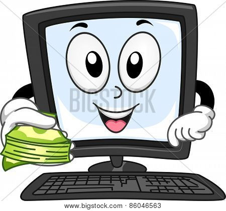 Mascot Illustration of a Computer Monitor Holding a Stack of Cash