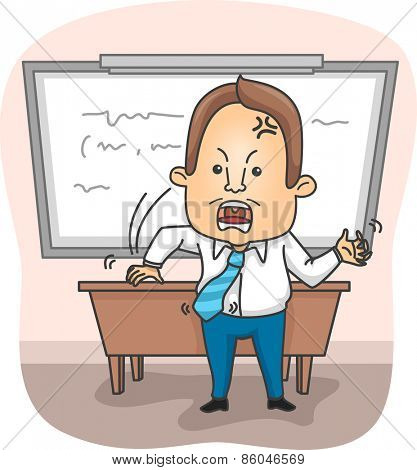 Illustration of an Angry Professor Pounding the Teacher's Desk with His Fist