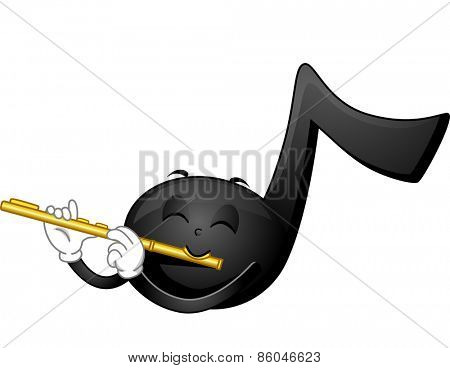 Mascot Illustration of a Music Note Playing the Flute