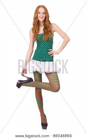 Woman in saint patrick clothes