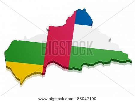 detailed illustration of a map of Central African Republic with flag, eps10 vector