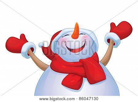 Vector happy snowman cartoon.