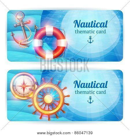 Marine horizontal banners set