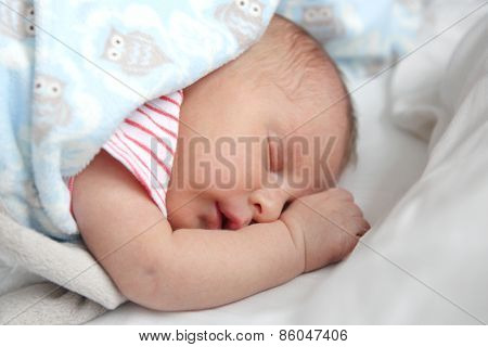 Precious Newborn Baby Girl Sleeping