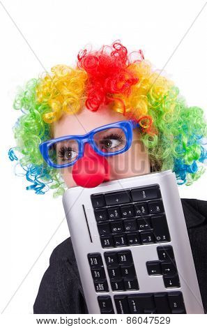 Businessman with clown wig isolated on white