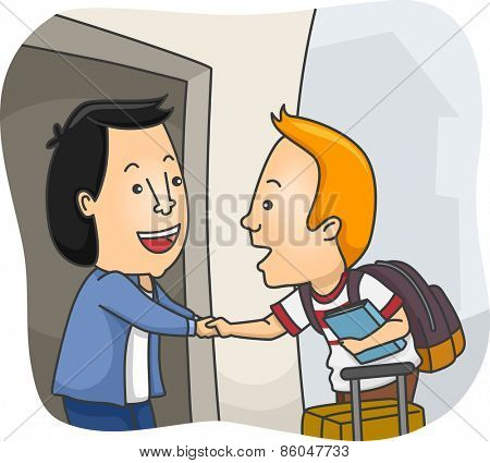 Illustration of a Man Welcoming a Homestay Student at His Home