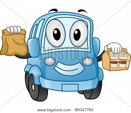Mascot Illustration of a Car Carrying Take Out Food