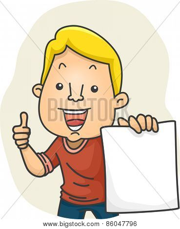 Illustration of a Man Holding a Piece of Paper Giving a Thumbs Up