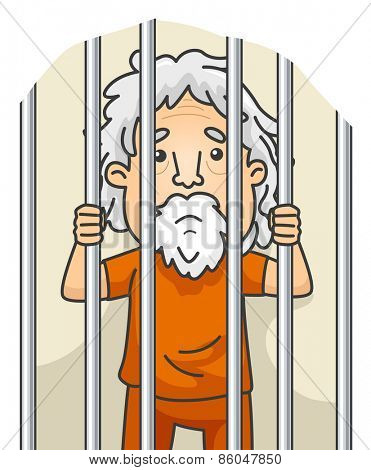 Illustration of a Senior Citizen Still Serving His Sentence in Jail