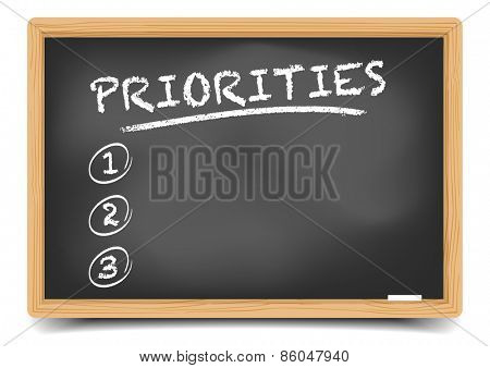 detailed illustration of a blackboard with an empty priorities list, eps10 vector, gradient mesh included