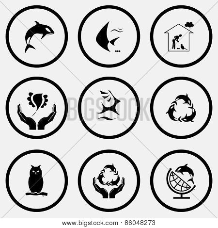 Animal set. Black and white set raster icons.