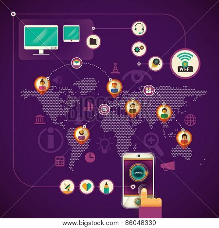 Illustration of communication technologies. Vector illustration.