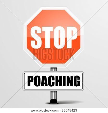 detailed illustration of a red stop Poaching sign, eps10 vector