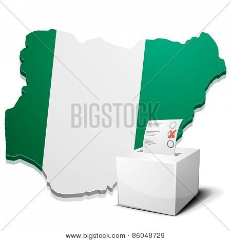 detailed illustration of a ballotbox in front of a map of Nigeria, eps10 vector