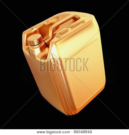 Golden Canister Isolated On Black Background.
