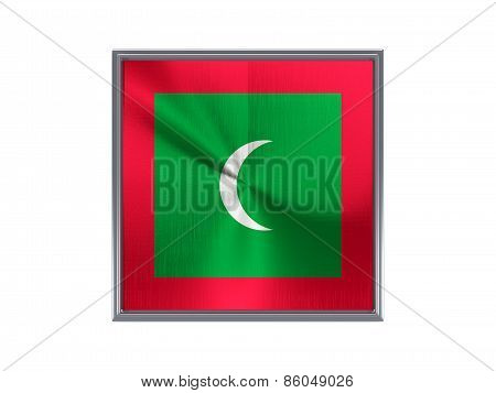 Square Metal Button With Flag Of Maldives