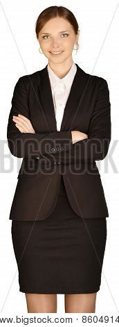 Young office worker smiling arms folded on chest
