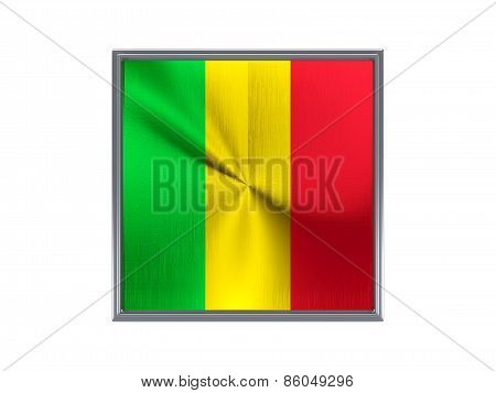 Square Metal Button With Flag Of Mali