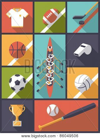 Flat Design Team Sports Icons Vector Illustration. Vertical flat design illustration with various team sports symbols.