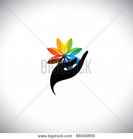 Spa Concept Graphic With Woman's Hand & Flower - Vector Icons