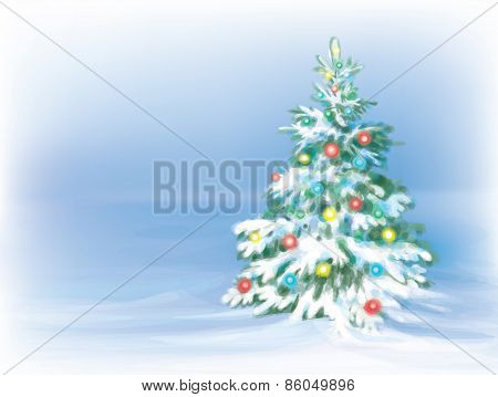 Vector Christmas tree snow background.