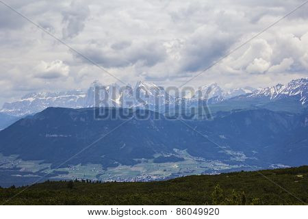 views of the Dolomites from the top of a mountain plateau