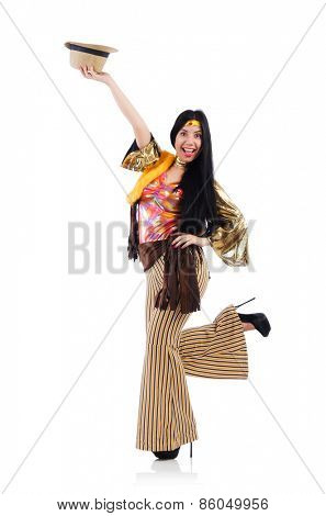 Girl in colourful latino dress isolated on white