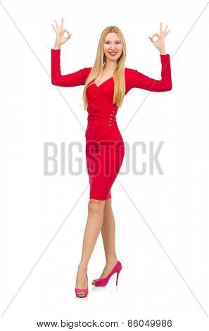Woman in elegenat long red dress isolated on white