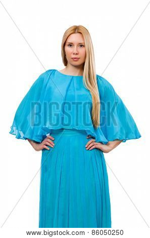 Young woman in gentle blue dress isolated on white