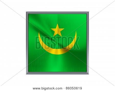Square Metal Button With Flag Of Mauritania