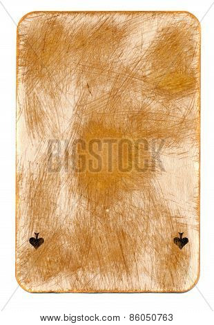 Ancient  Used  Playing Card Of Ace Paper Background Isolated