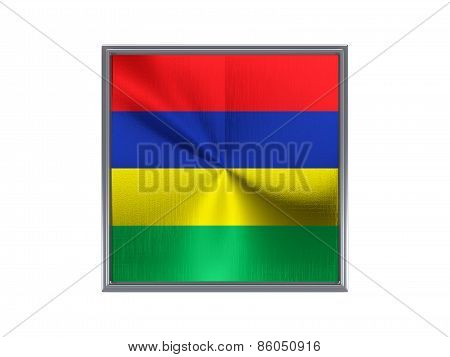 Square Metal Button With Flag Of Mauritius
