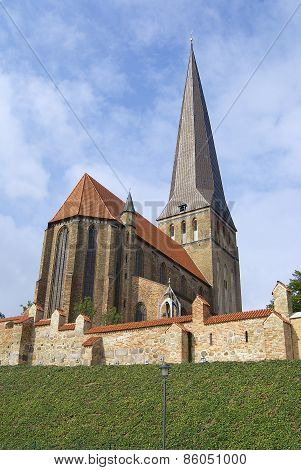 Exterior of the St. Peter's Church in Rostock Germany.