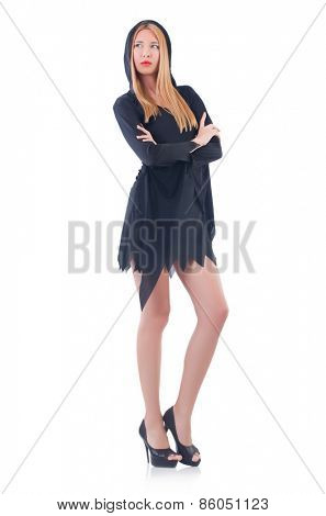 Young woman in black dress isolated on white