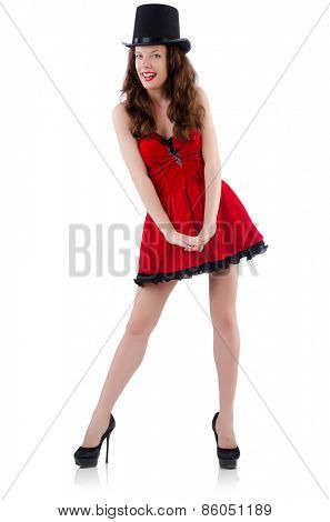 Young female model posing in red mini dress