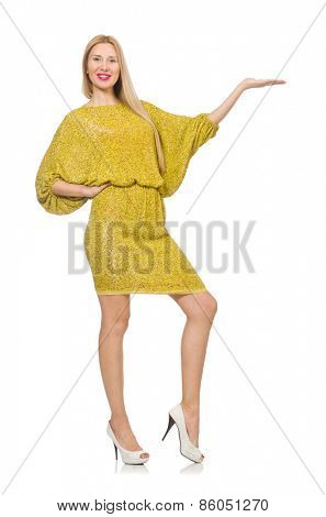 Pretty tall woman in yellow dress isolated on white
