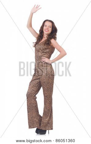Woman in leopard suit isolated on white