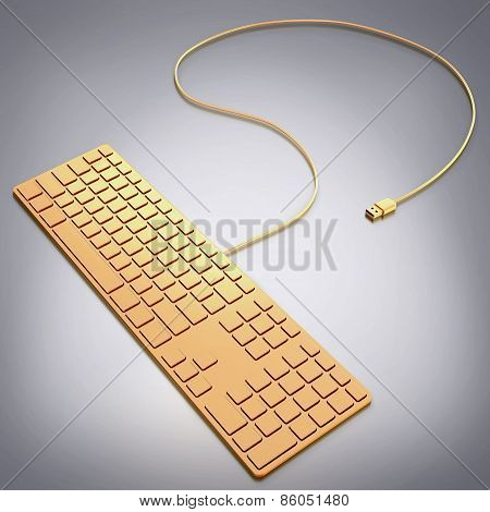 Golden Computer Keyboard On Grey Background.